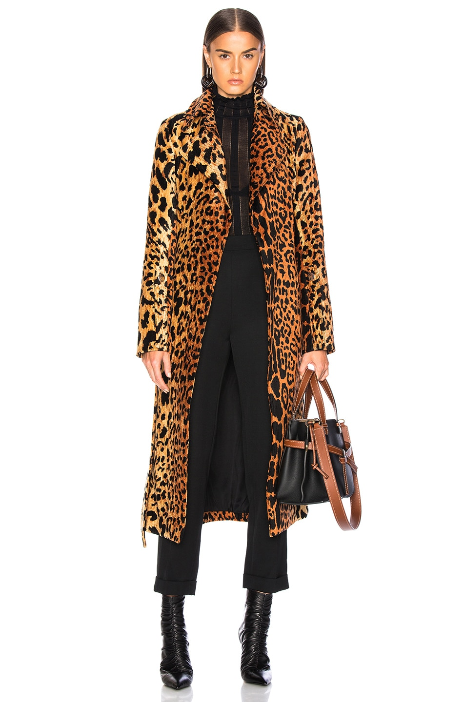 Image 1 of Victoria Beckham Tiger Chenille Jacquard Split Sleeve Fitted Coat in Orange & Brown