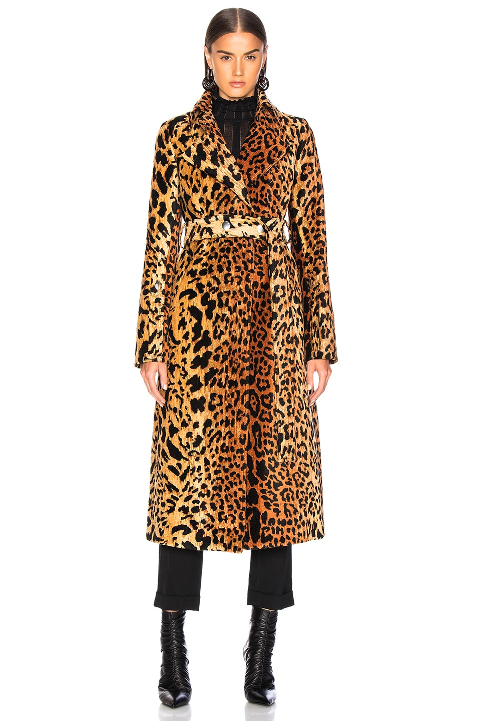 Image 2 of Victoria Beckham Tiger Chenille Jacquard Split Sleeve Fitted Coat in Orange & Brown