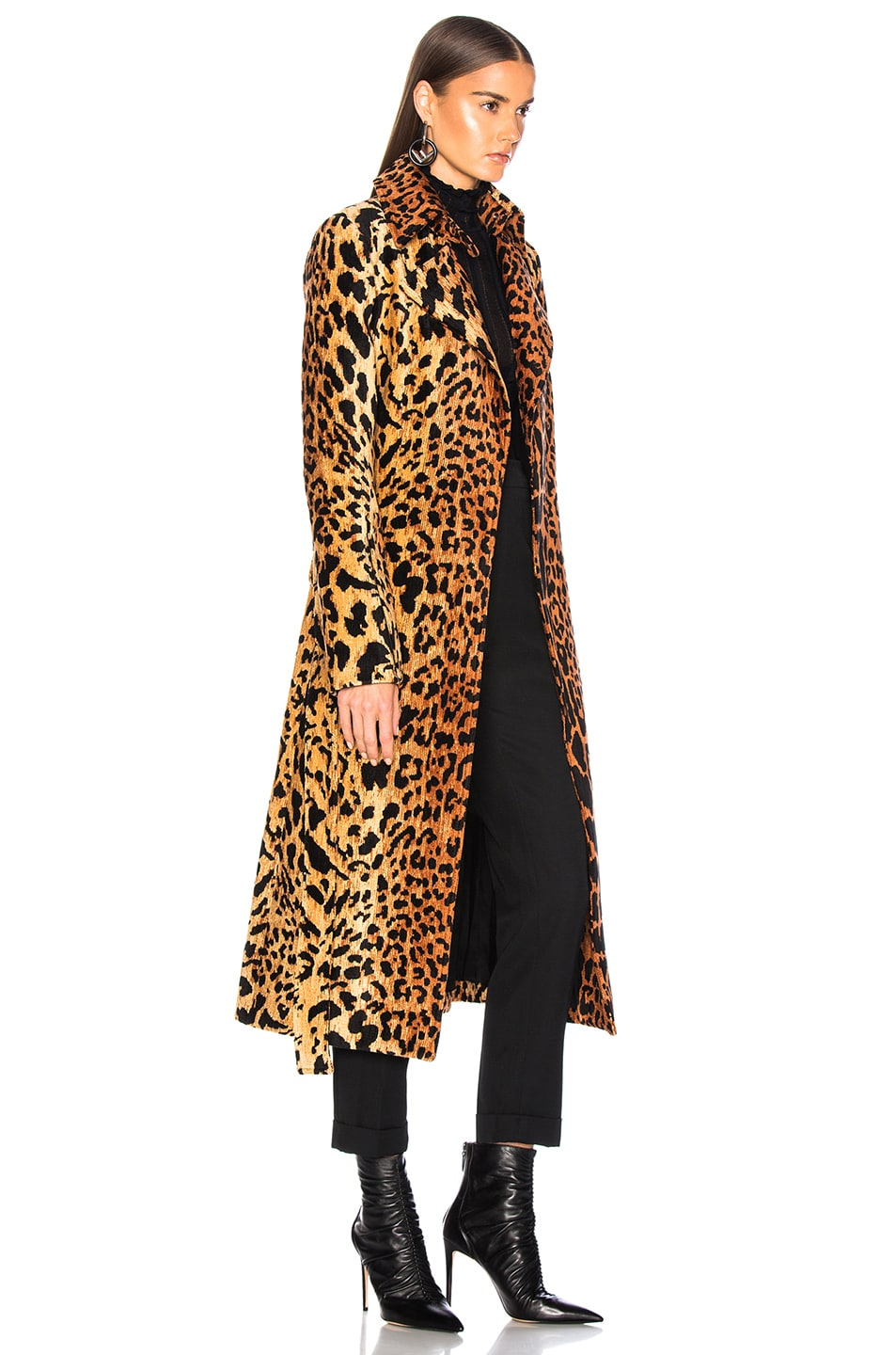 Image 3 of Victoria Beckham Tiger Chenille Jacquard Split Sleeve Fitted Coat in Orange & Brown