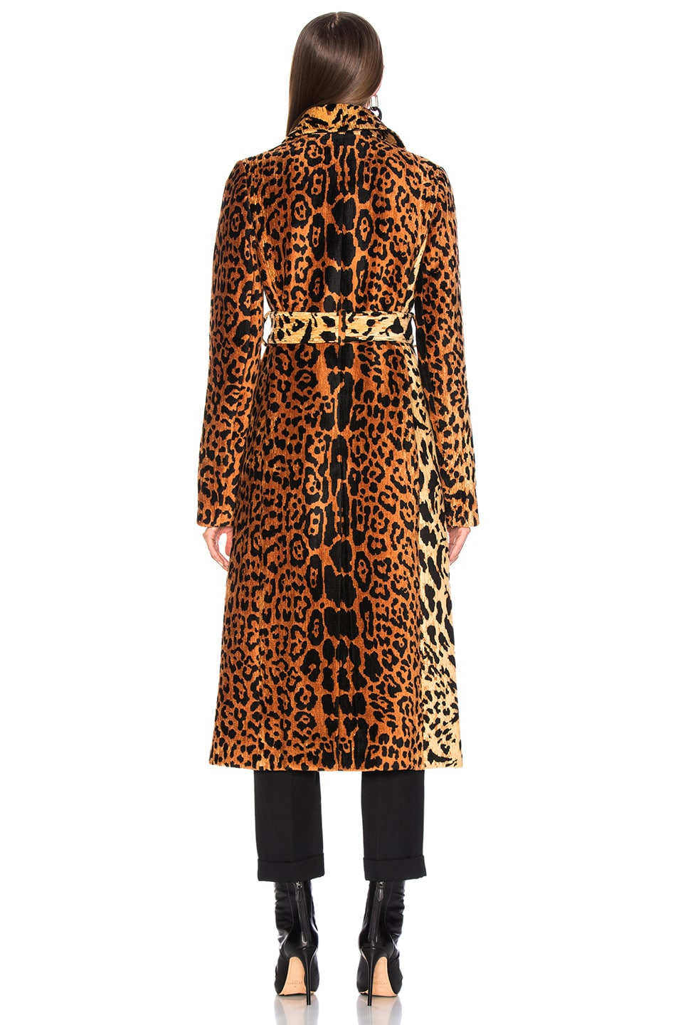 Image 4 of Victoria Beckham Tiger Chenille Jacquard Split Sleeve Fitted Coat in Orange & Brown