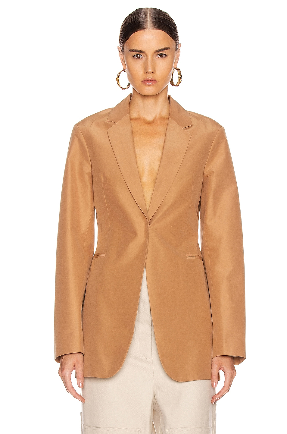 Image 2 of Victoria Beckham Masculine Jacket in Tan