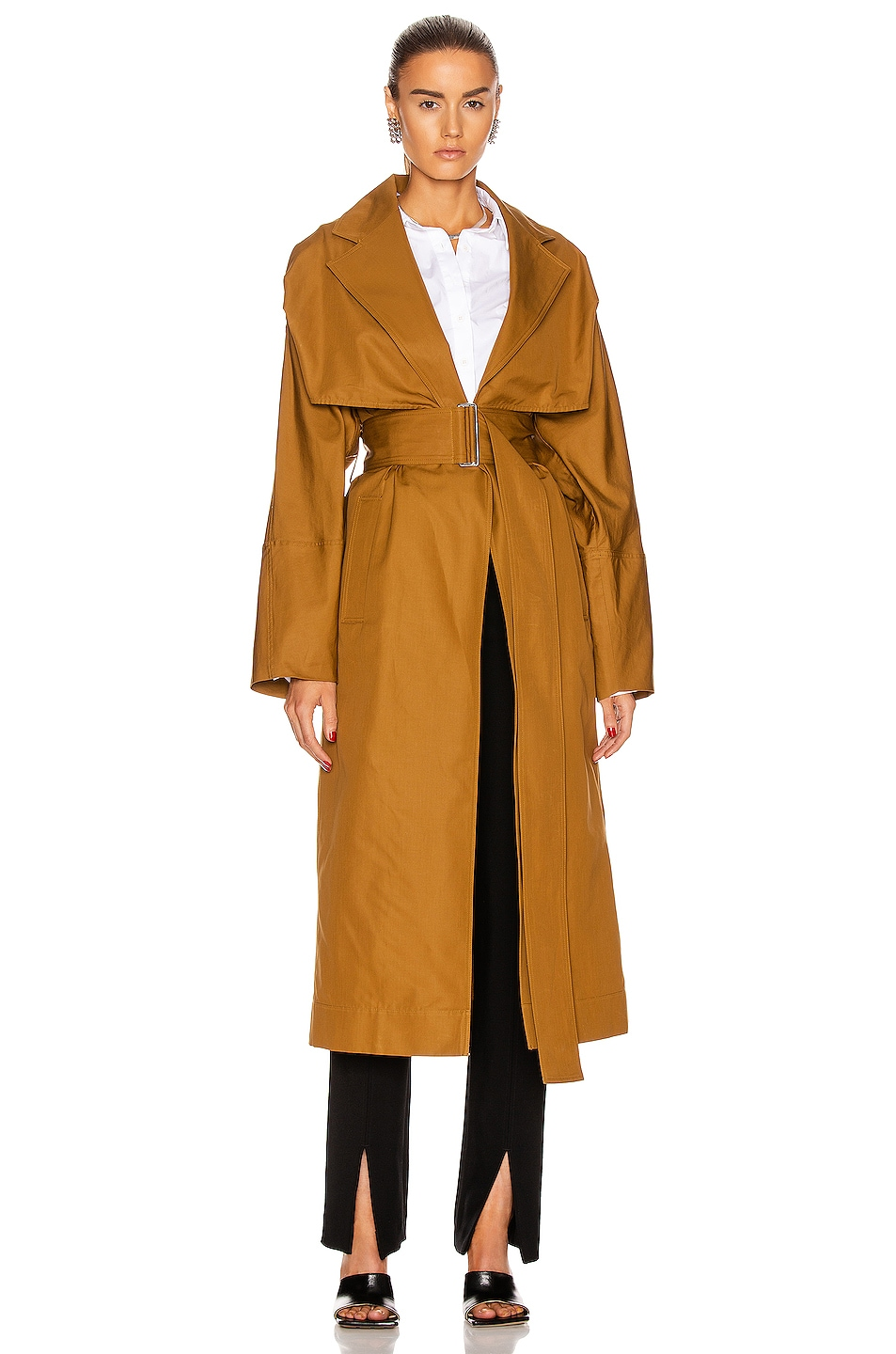 Image 1 of Victoria Beckham Lightweight Trench Coat in Deep Mustard