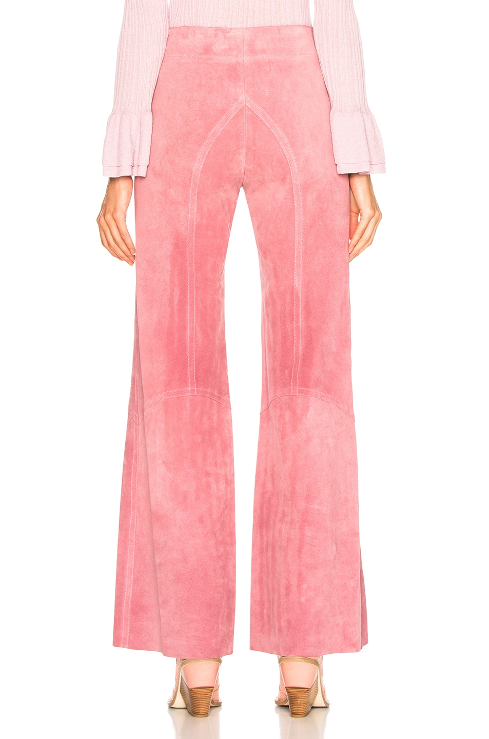 Image 3 of Victoria Beckham Paneled Flare Suede Trousers in Light Pink