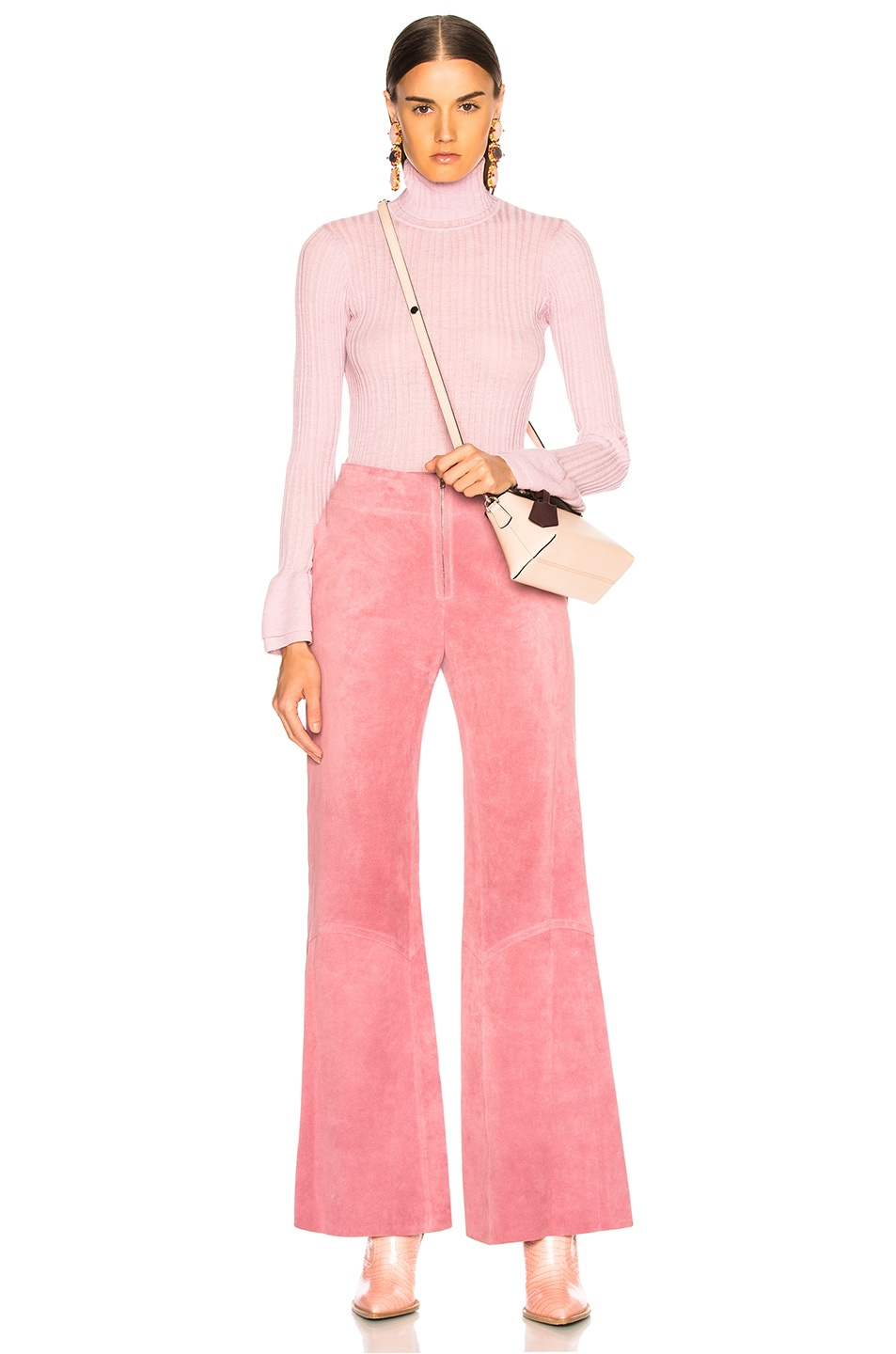 Image 4 of Victoria Beckham Paneled Flare Suede Trousers in Light Pink