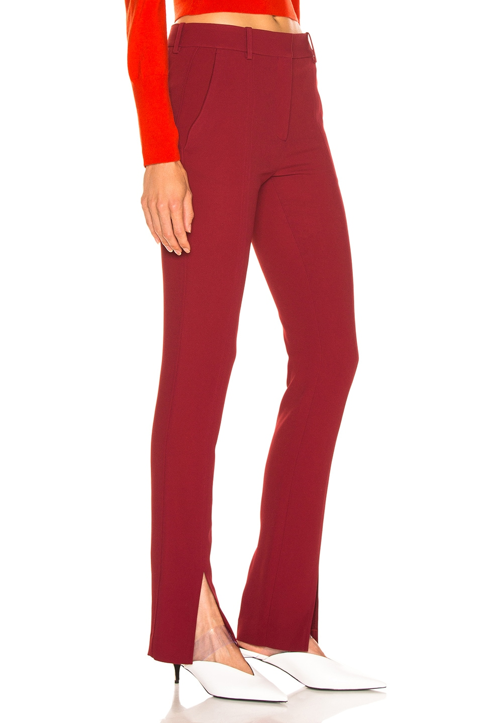 Image 2 of Victoria Beckham Front Split Skinny Trouser in Burgundy