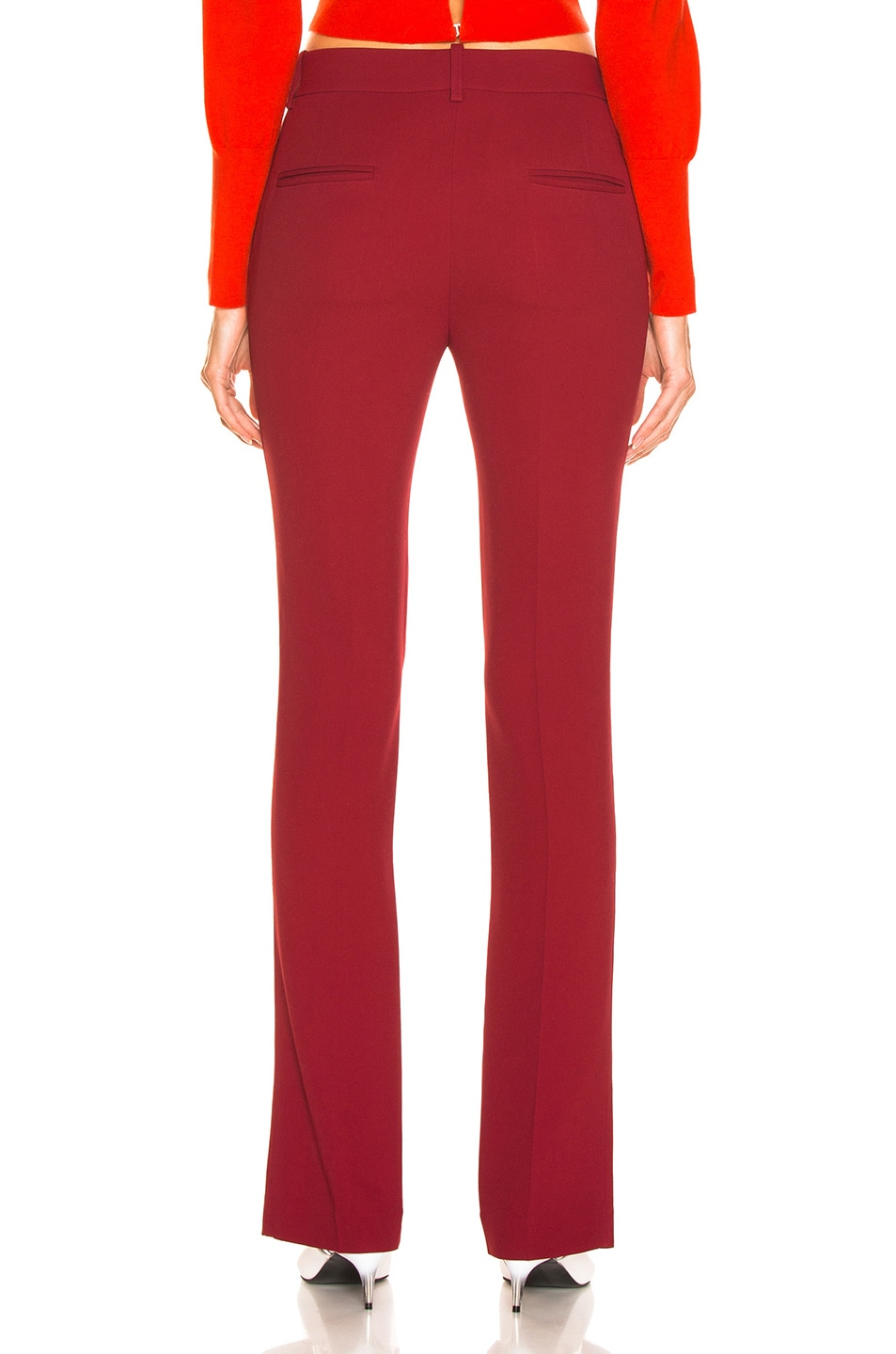 Image 3 of Victoria Beckham Front Split Skinny Trouser in Burgundy