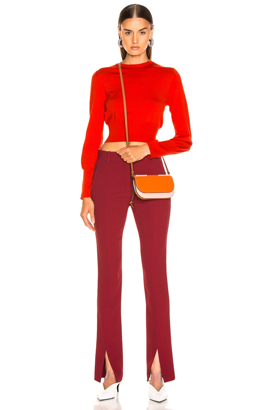 Image 4 of Victoria Beckham Front Split Skinny Trouser in Burgundy