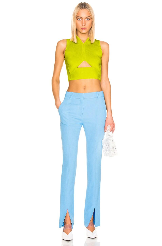 Image 4 of Victoria Beckham Front Split Skinny Trouser in Sky Blue
