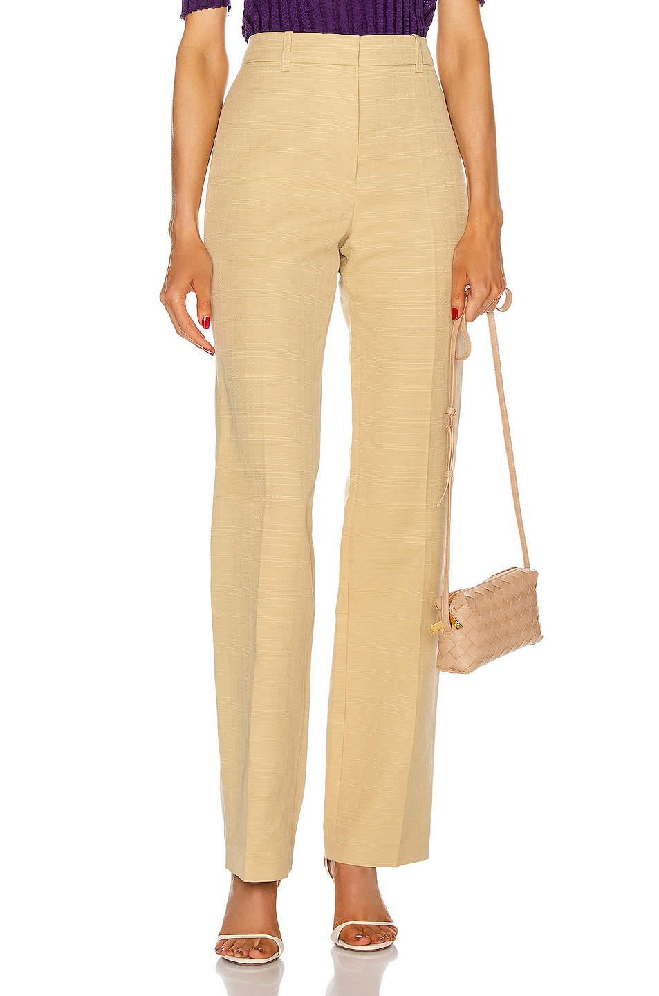Image 1 of Victoria Beckham High Waisted Slim Leg Trouser in Sand