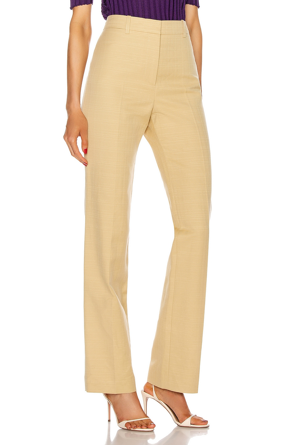 Image 2 of Victoria Beckham High Waisted Slim Leg Trouser in Sand