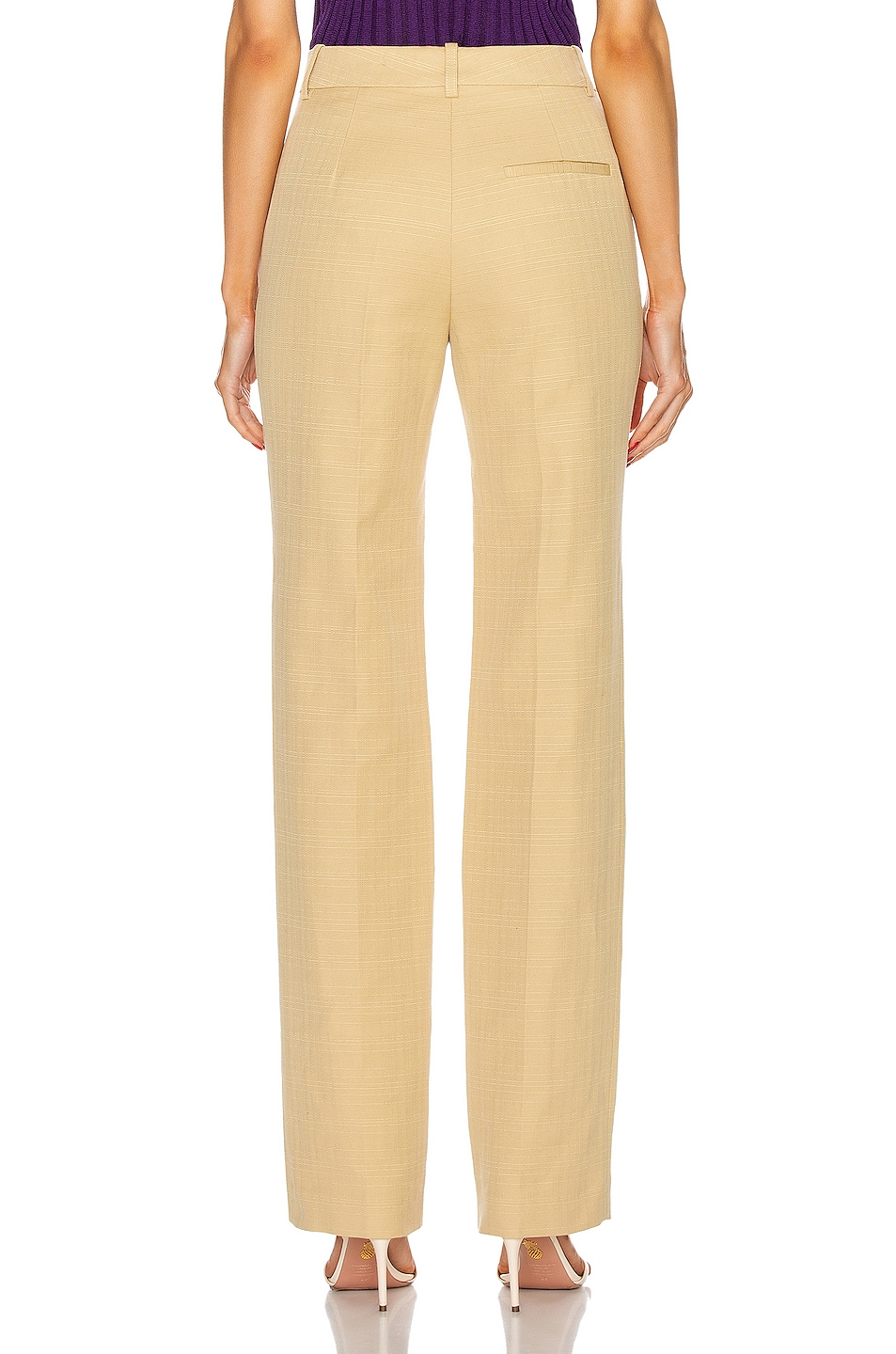 Image 3 of Victoria Beckham High Waisted Slim Leg Trouser in Sand