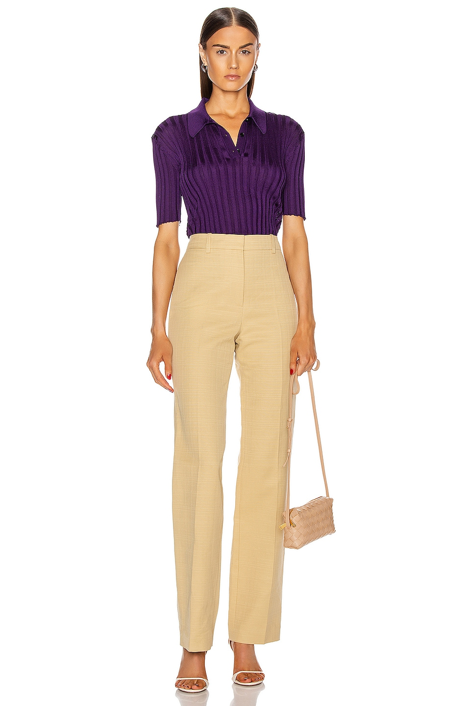 Image 4 of Victoria Beckham High Waisted Slim Leg Trouser in Sand