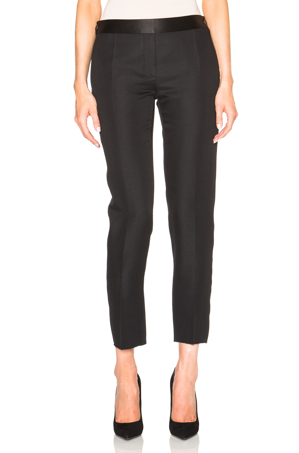 Image 1 of Victoria Beckham Sateen Tailoring Tux Trousers in Black