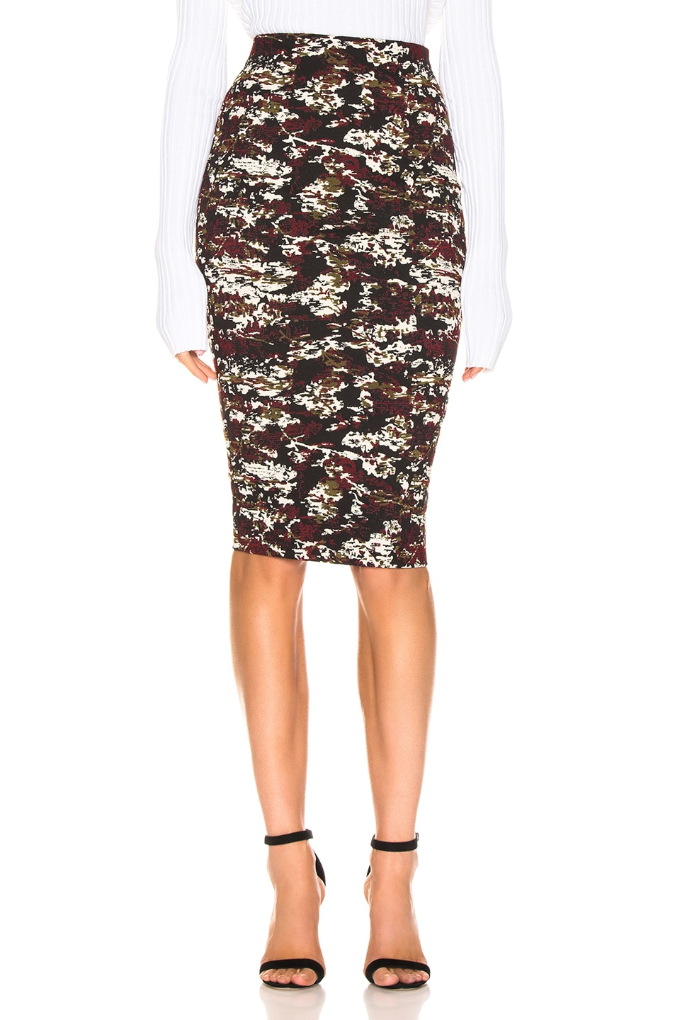 Image 1 of Victoria Beckham Pencil Skirt in Bordeaux & Black