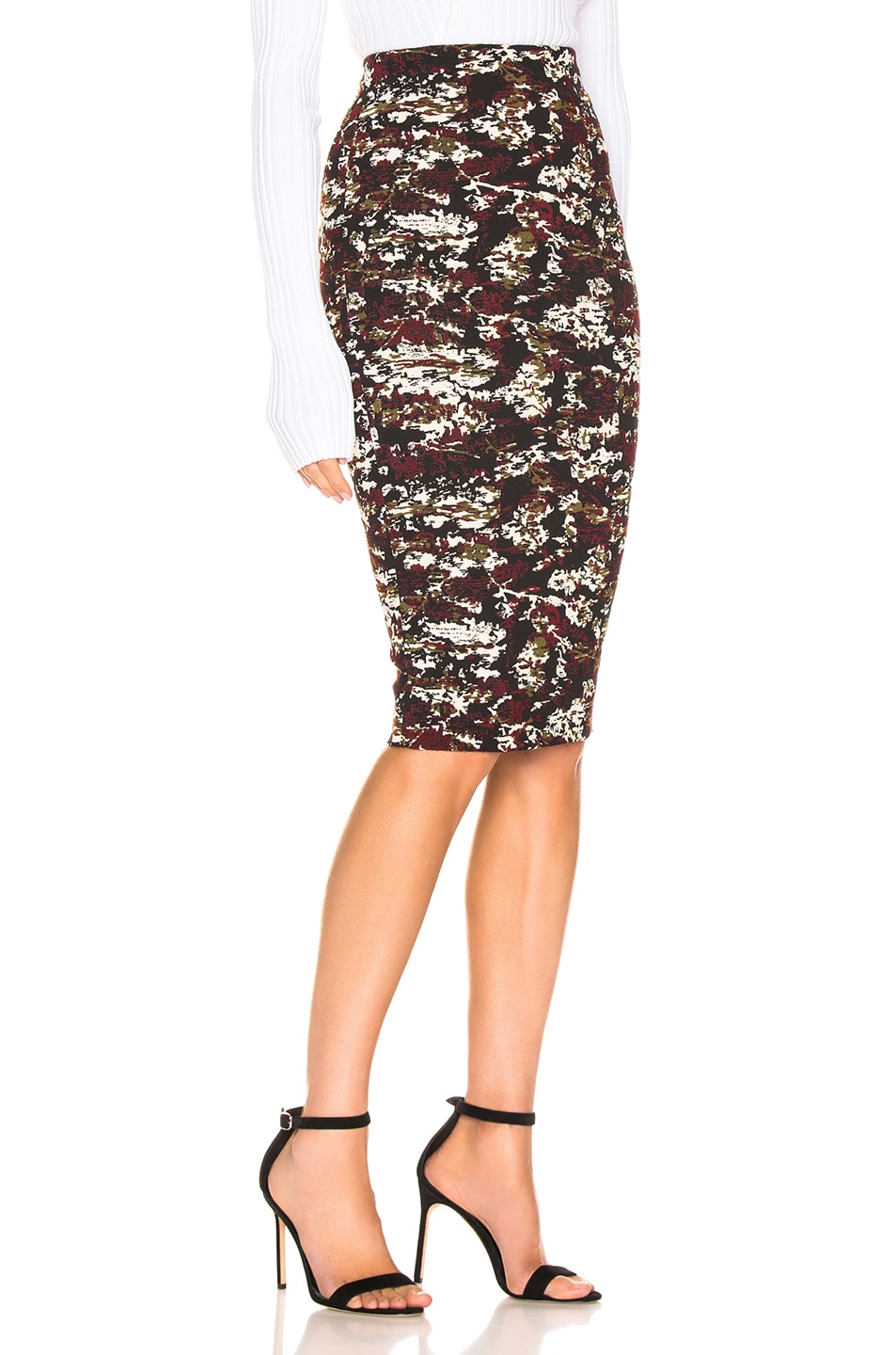 Image 2 of Victoria Beckham Pencil Skirt in Bordeaux & Black