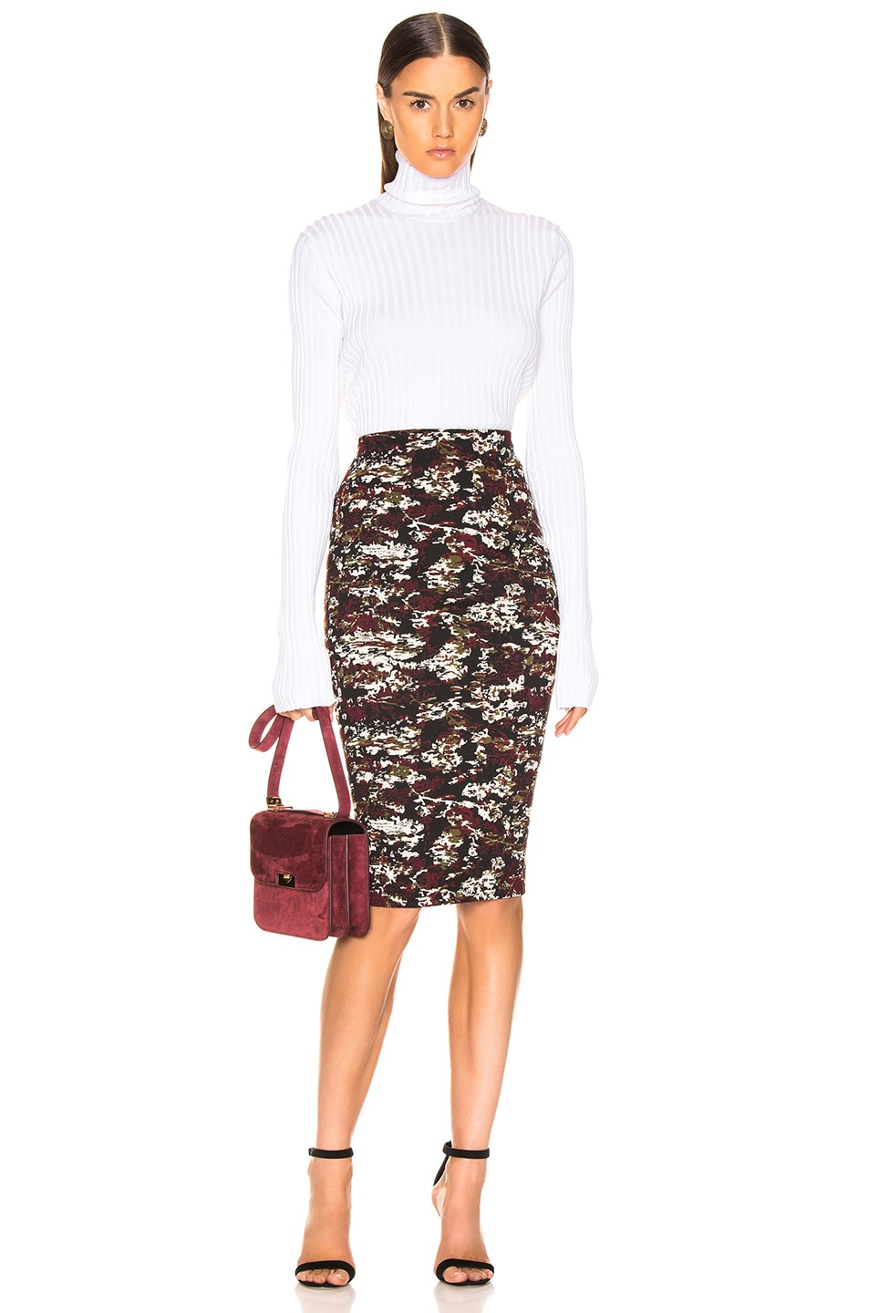 Image 4 of Victoria Beckham Pencil Skirt in Bordeaux & Black
