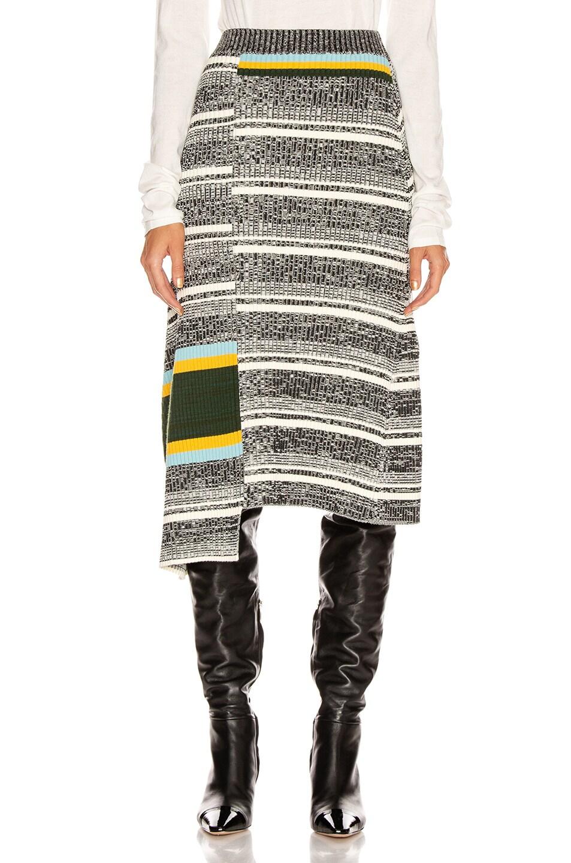Image 1 of Victoria Beckham Asymmetric Flared Skirt in Black & White Multi