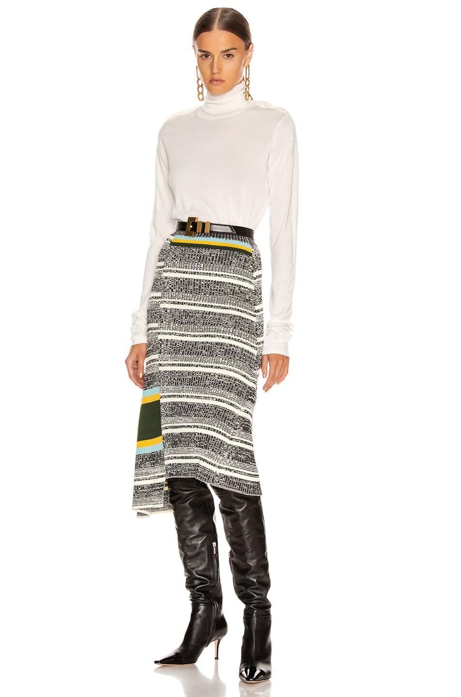 Image 4 of Victoria Beckham Asymmetric Flared Skirt in Black & White Multi