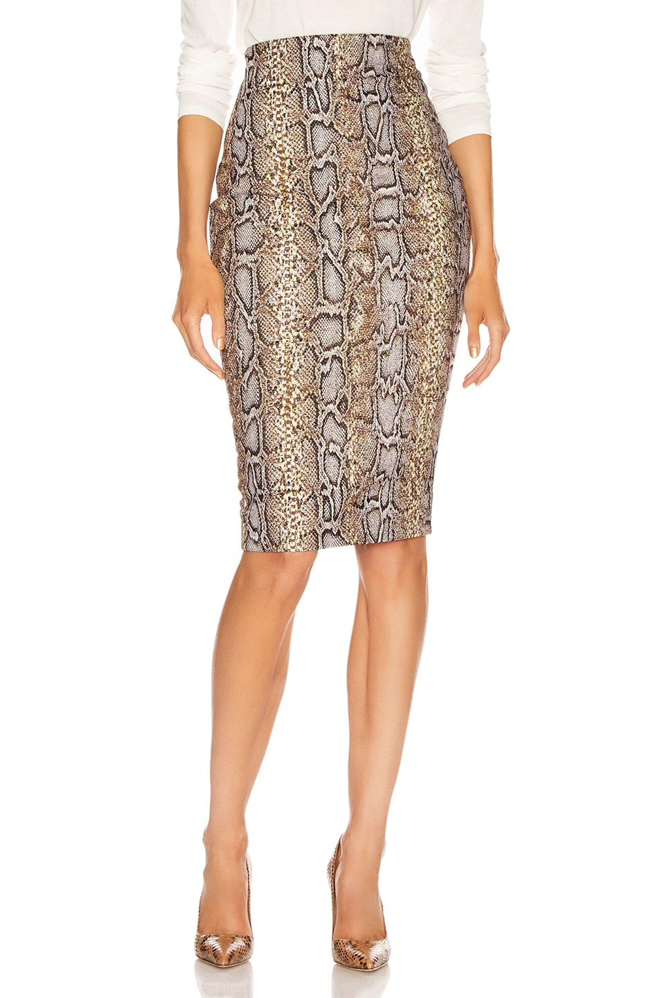 Image 1 of Victoria Beckham Pencil Skirt in Khaki