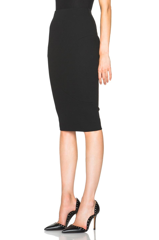 Image 2 of Victoria Beckham Light Matt Crepe Paneled Pencil Skirt in Black