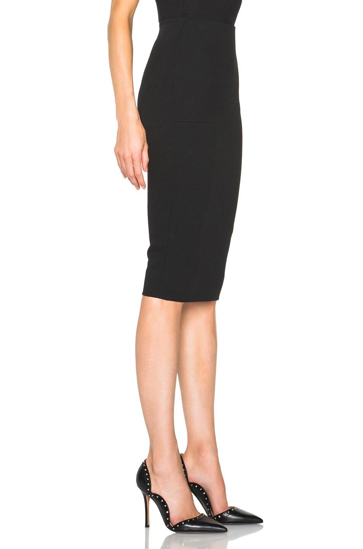 Image 3 of Victoria Beckham Light Matt Crepe Paneled Pencil Skirt in Black