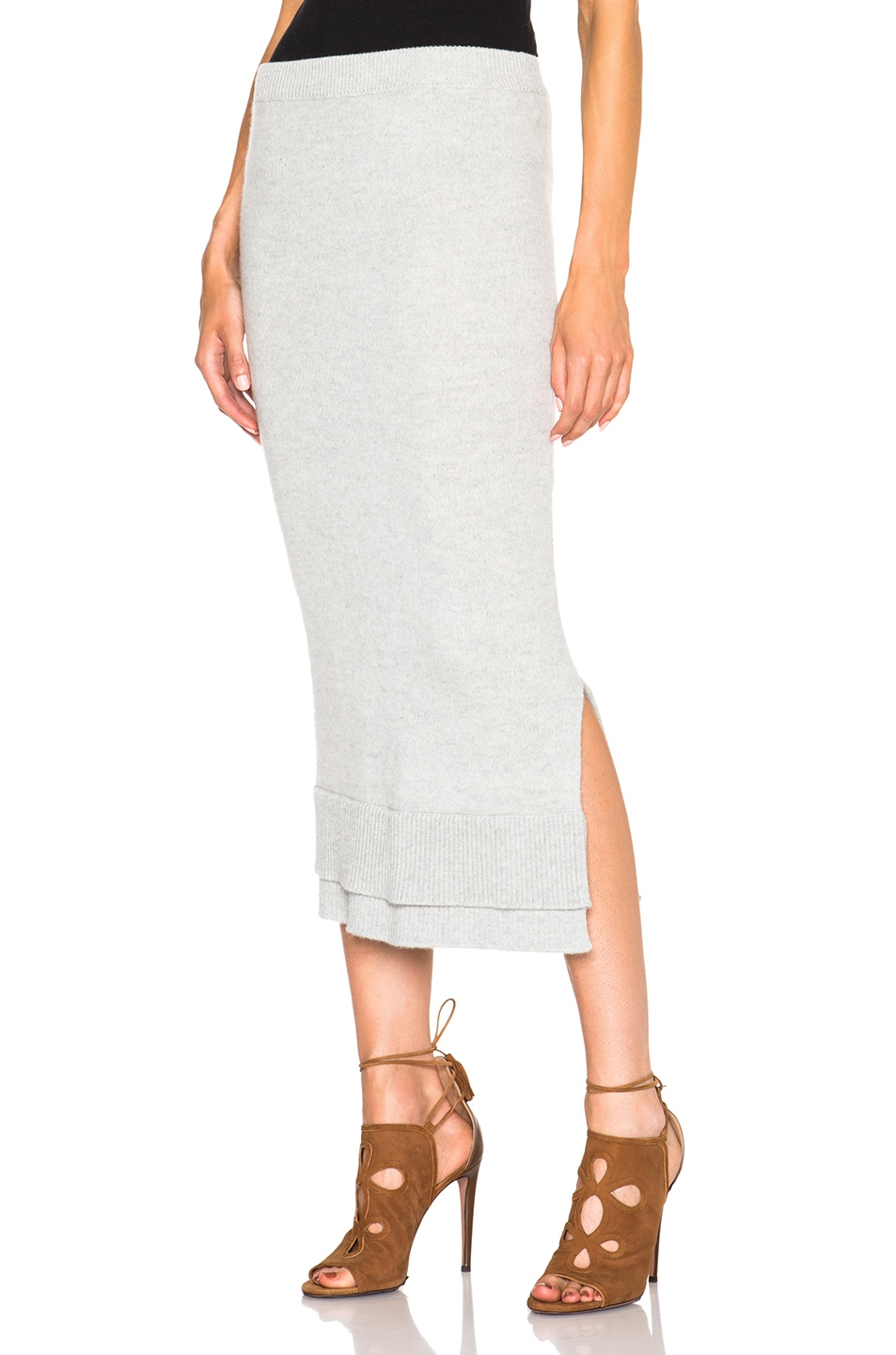 Image 1 of Victoria Beckham Felted Lambswool Skirt in Grey