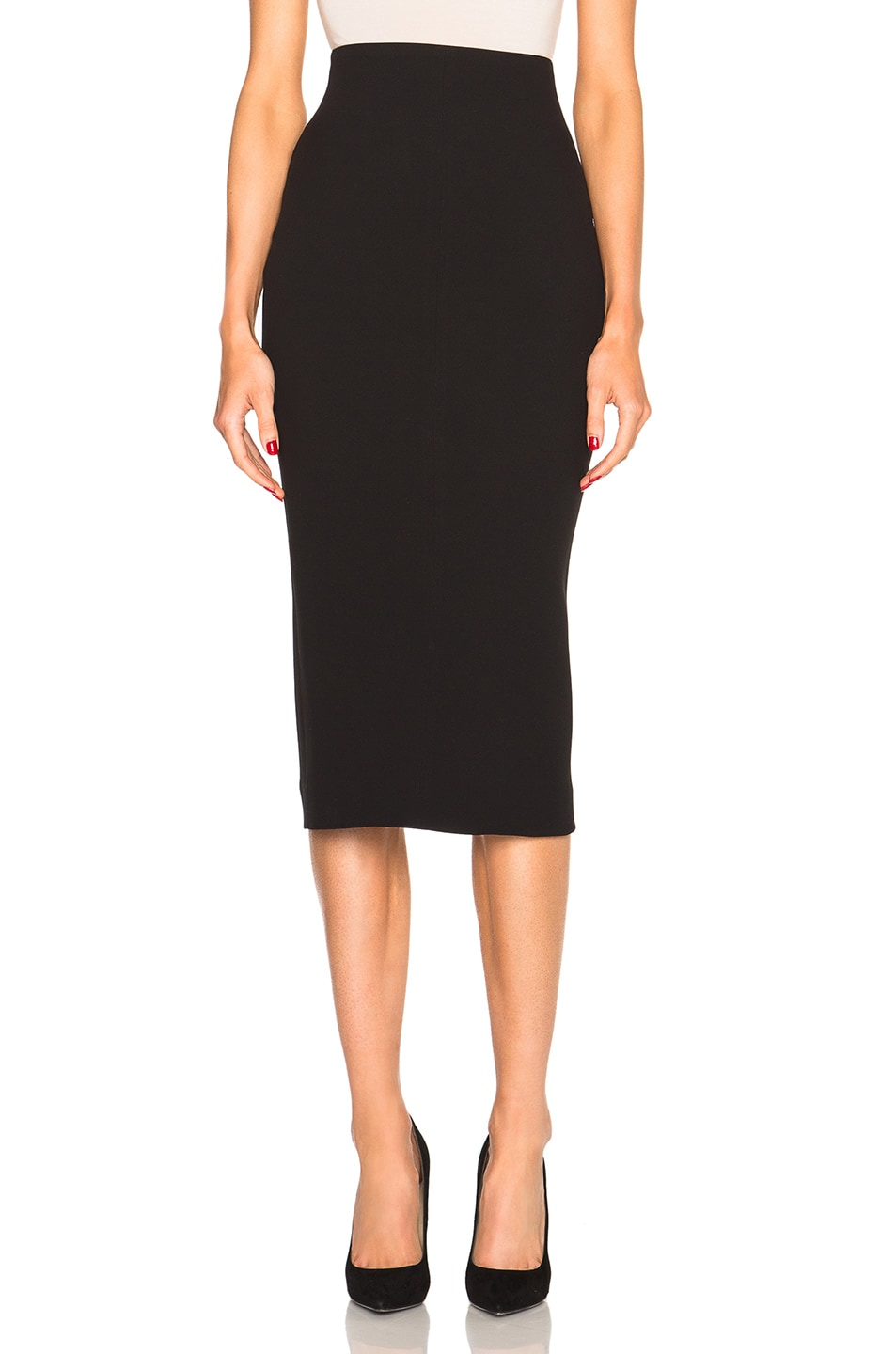 Image 1 of Victoria Beckham Double Crepe High Waisted Pencil Skirt in Black