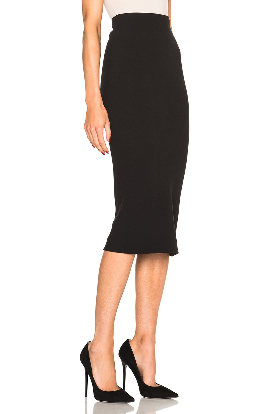 Image 3 of Victoria Beckham Double Crepe High Waisted Pencil Skirt in Black