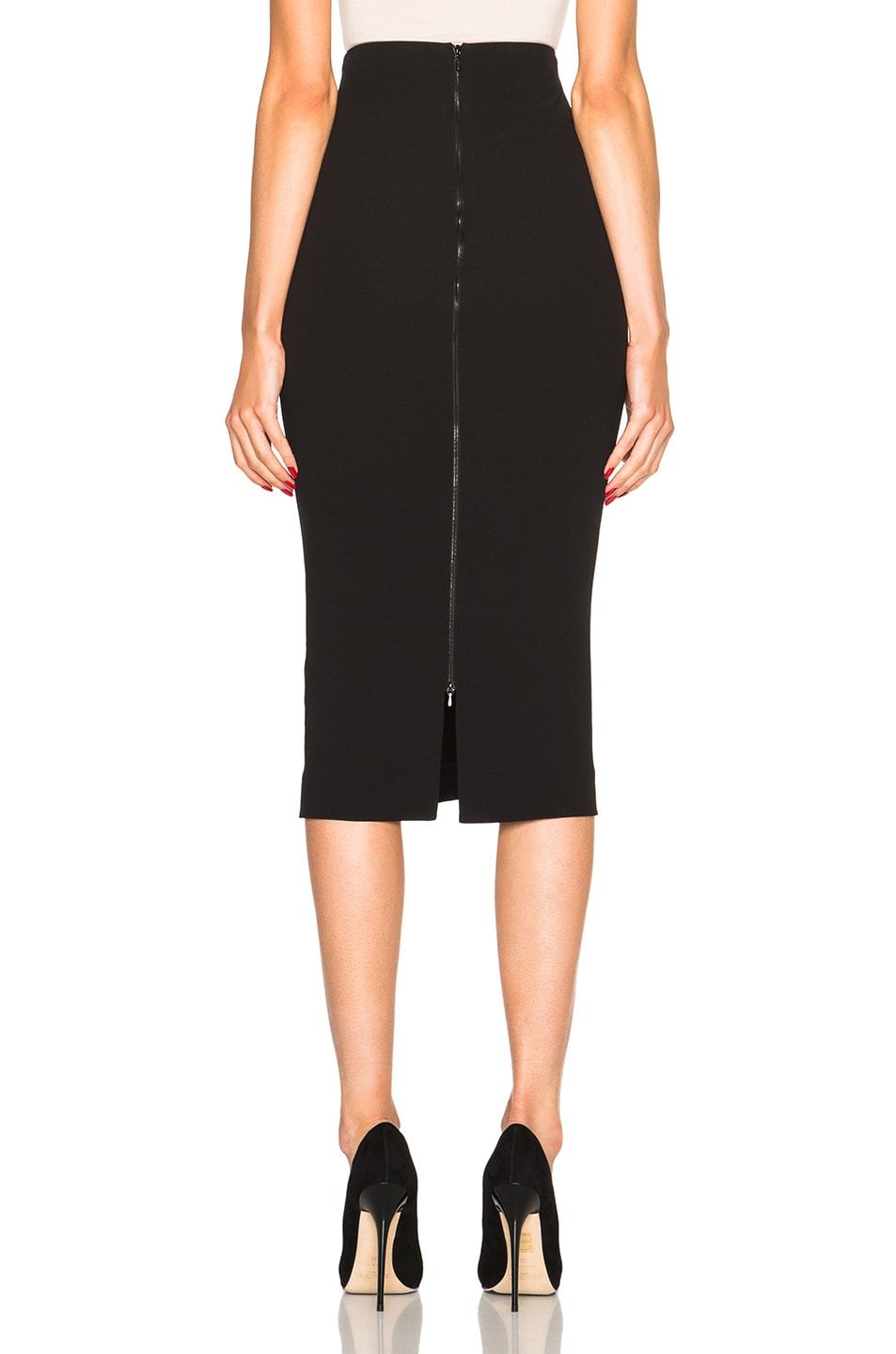 Image 4 of Victoria Beckham Double Crepe High Waisted Pencil Skirt in Black