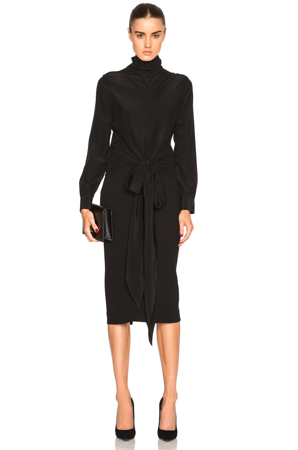 Image 5 of Victoria Beckham Double Crepe High Waisted Pencil Skirt in Black