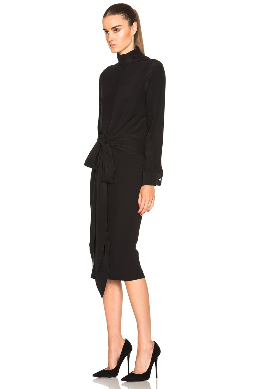 Image 2 of Victoria Beckham Crepe de Chine Knot Tie Blouse in Black