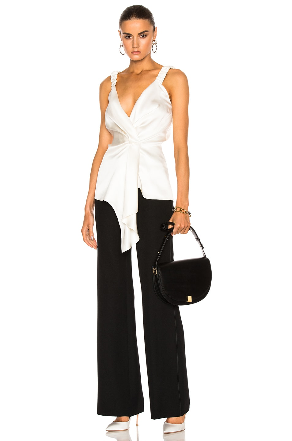 Image 1 of Victoria Beckham Silk Twill Wrap Top in Ivory