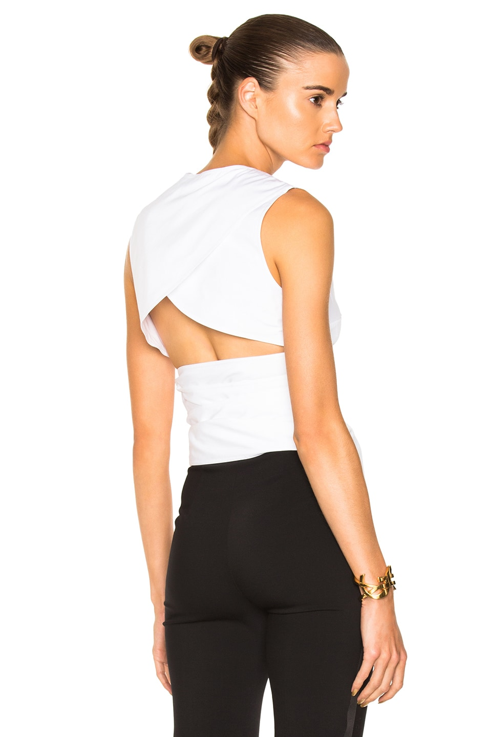 Image 1 of Victoria Beckham Cotton Shirting Belted Backless Top in White