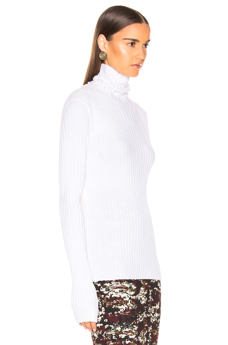 Image 2 of Victoria Beckham Polo Neck Top in Ivory