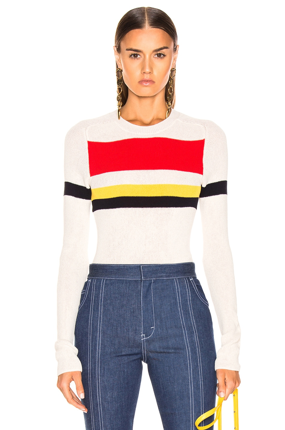 Image 1 of Victoria Beckham Long Sleeve Stripe Top in Vanilla & Bright Red Multi