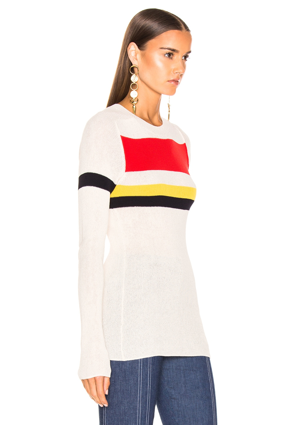 Image 2 of Victoria Beckham Long Sleeve Stripe Top in Vanilla & Bright Red Multi
