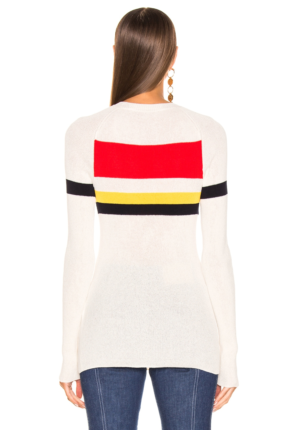 Image 3 of Victoria Beckham Long Sleeve Stripe Top in Vanilla & Bright Red Multi