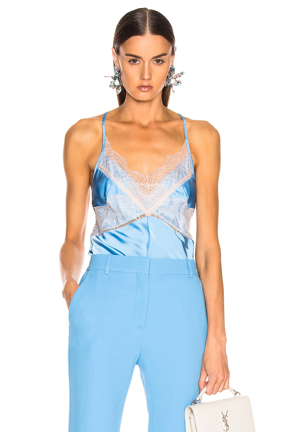Image 1 of Victoria Beckham Lace Cross Back Cami Top in Sky Blue