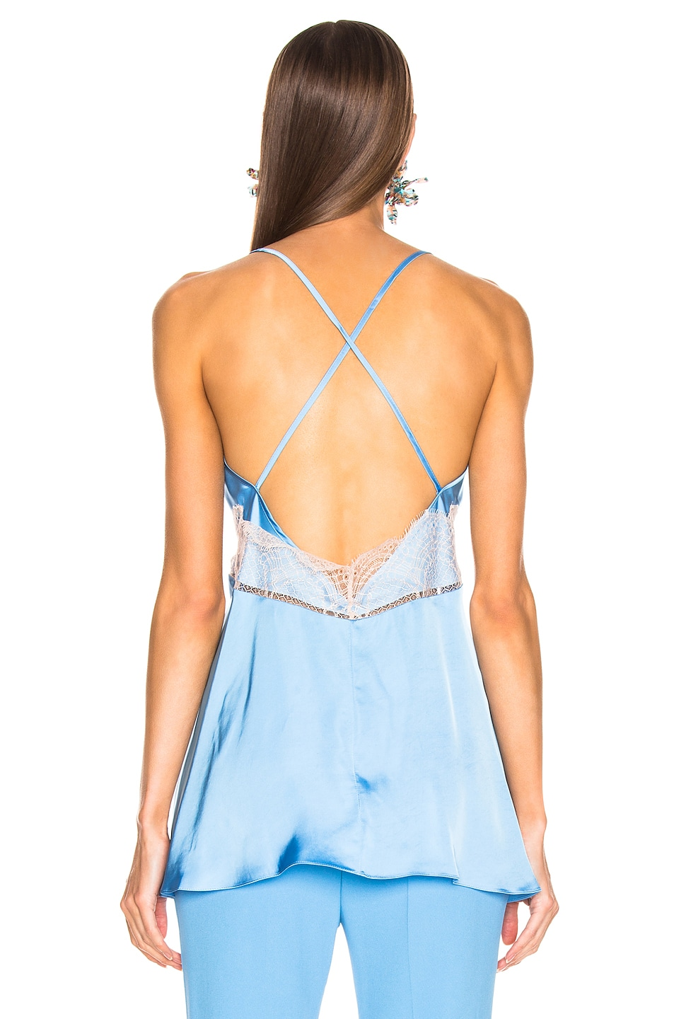 Image 3 of Victoria Beckham Lace Cross Back Cami Top in Sky Blue