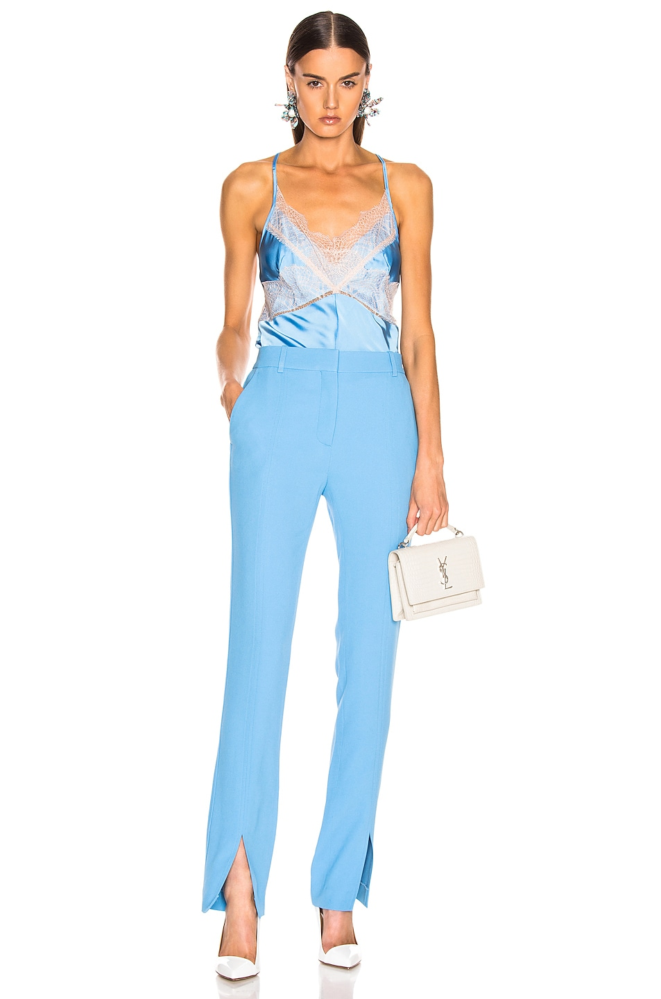 Image 4 of Victoria Beckham Lace Cross Back Cami Top in Sky Blue