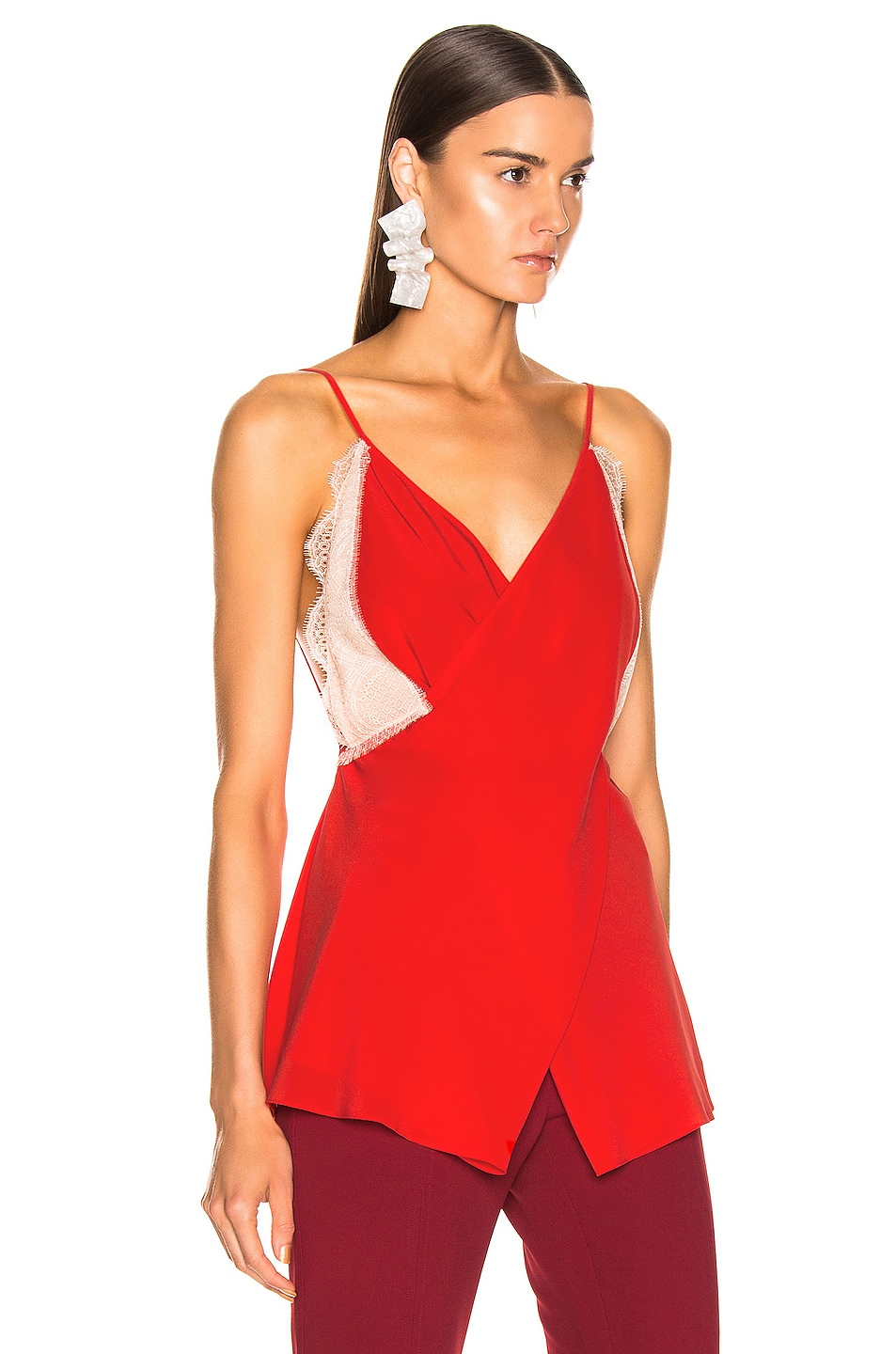 Image 2 of Victoria Beckham Lace Cross Front Cami Top in Tomato