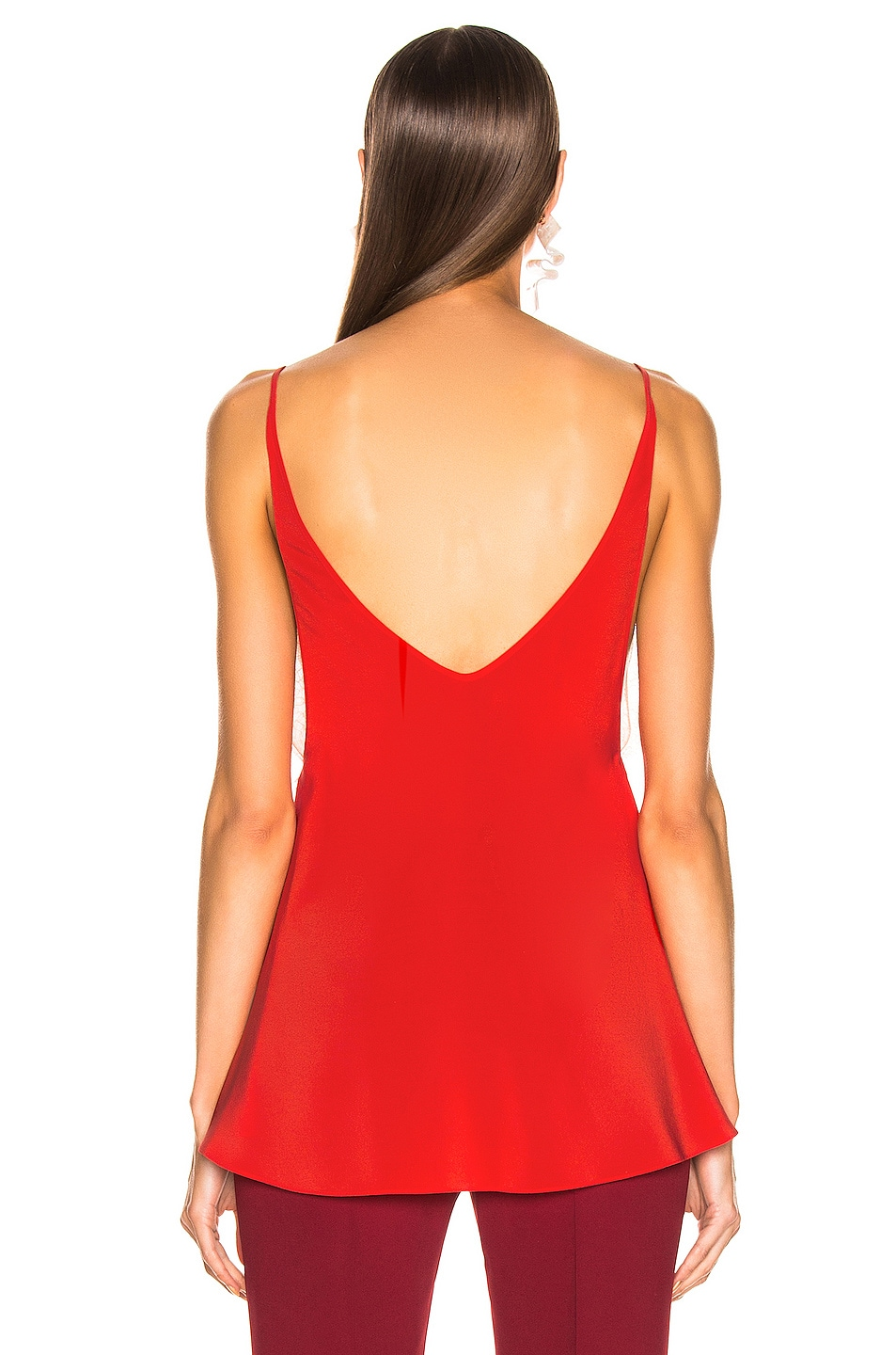Image 3 of Victoria Beckham Lace Cross Front Cami Top in Tomato