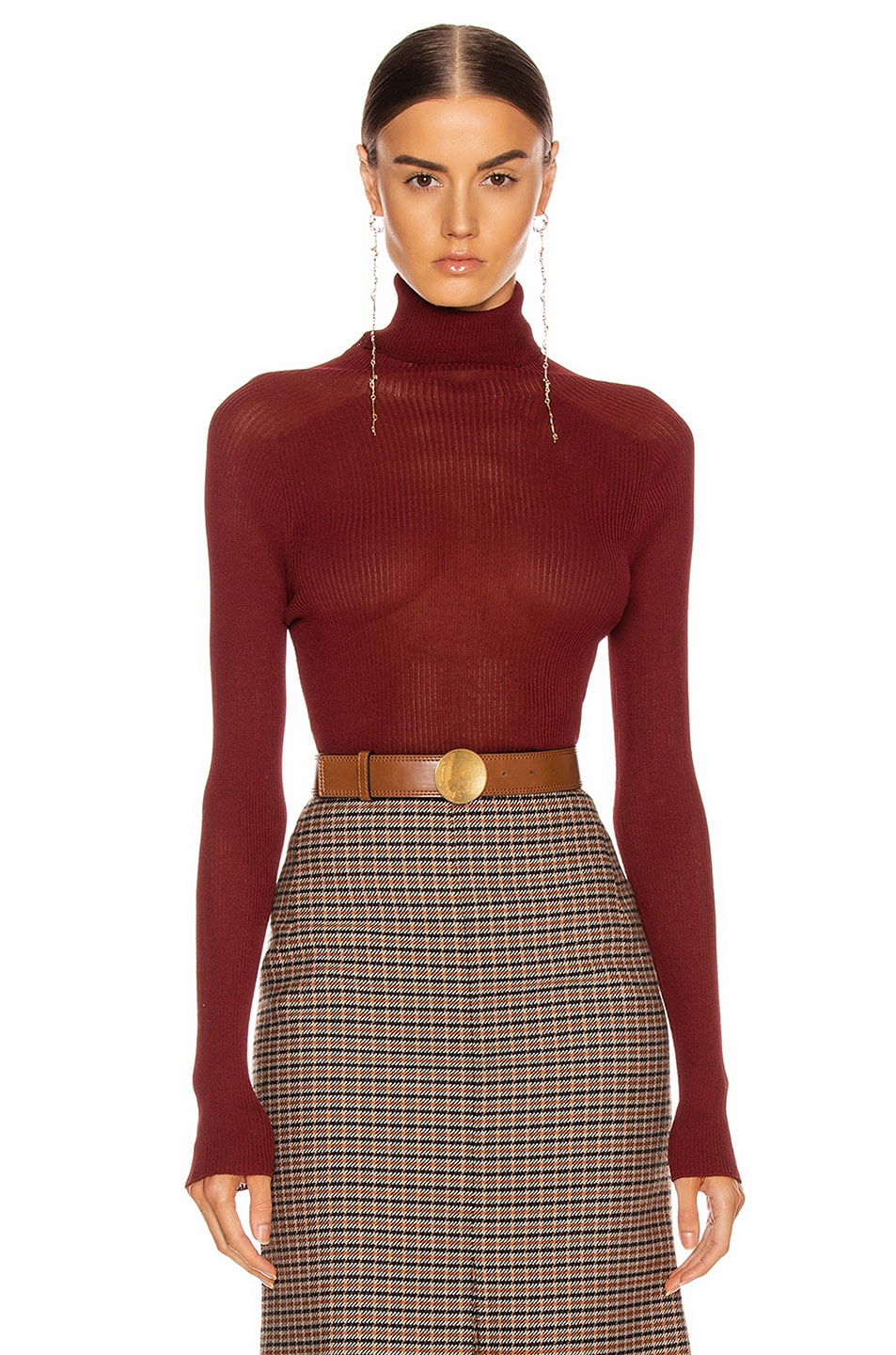 Image 1 of Victoria Beckham Polo Neck Top in Bordeaux