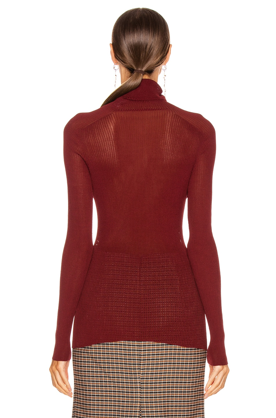 Image 3 of Victoria Beckham Polo Neck Top in Bordeaux