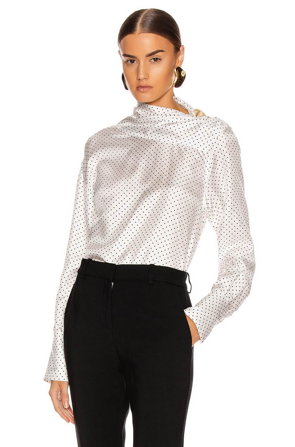 Image 1 of Victoria Beckham Asymmetric Drape Neck Blouse in White & Black