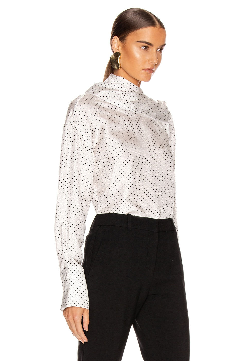 Image 3 of Victoria Beckham Asymmetric Drape Neck Blouse in White & Black