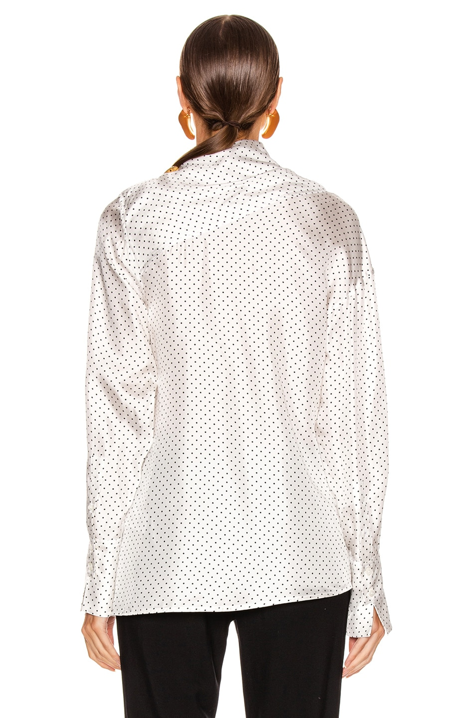 Image 4 of Victoria Beckham Asymmetric Drape Neck Blouse in White & Black