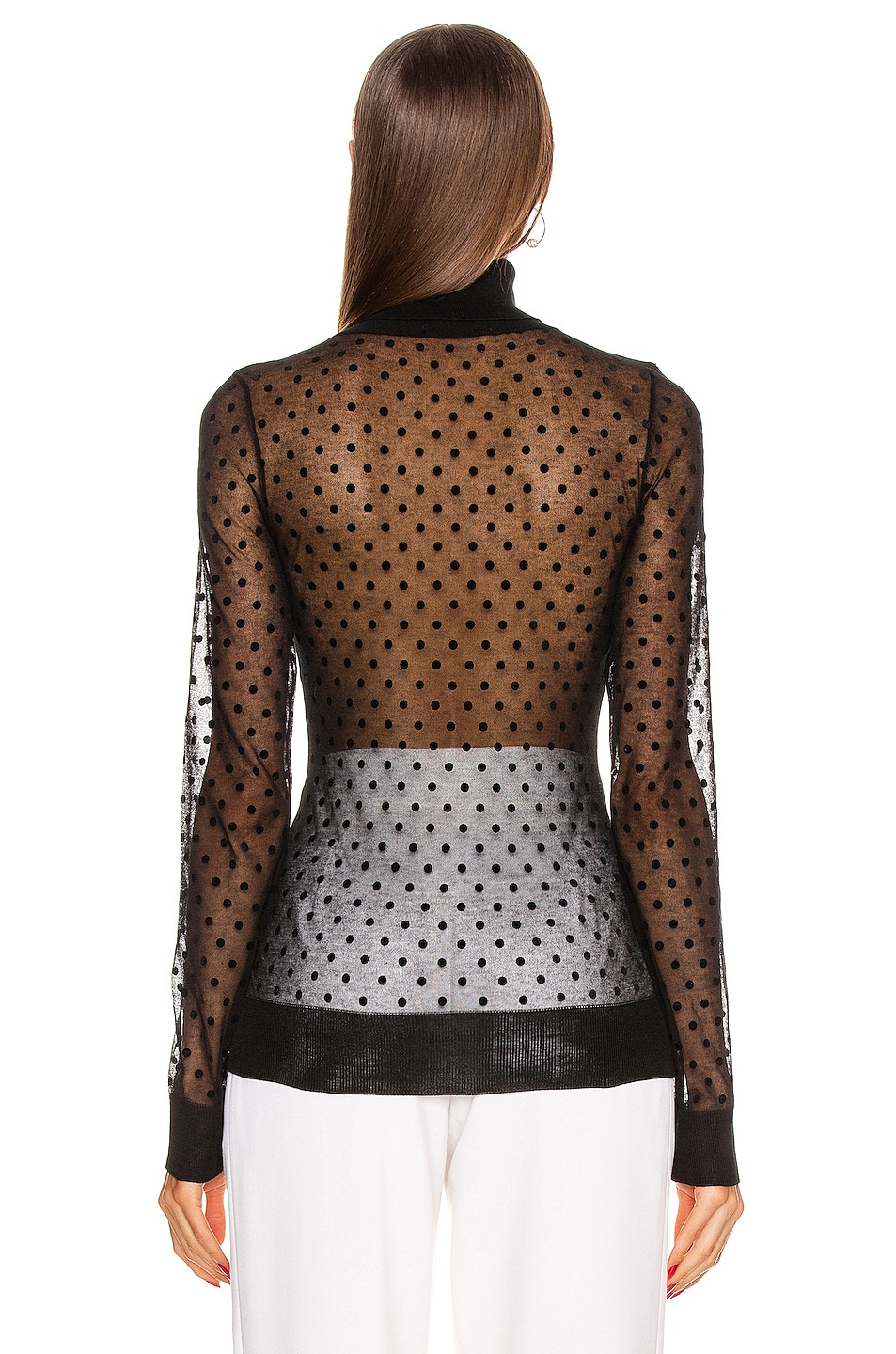 Image 3 of Victoria Beckham Sheer Polo Neck Top in Sheer Black