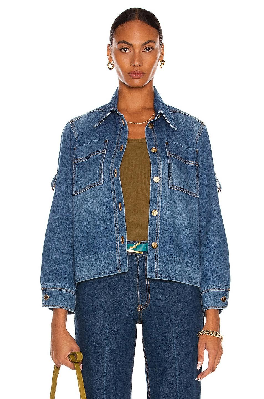Image 1 of Victoria Beckham Slim Denim Shirt in Mid Blue Wash