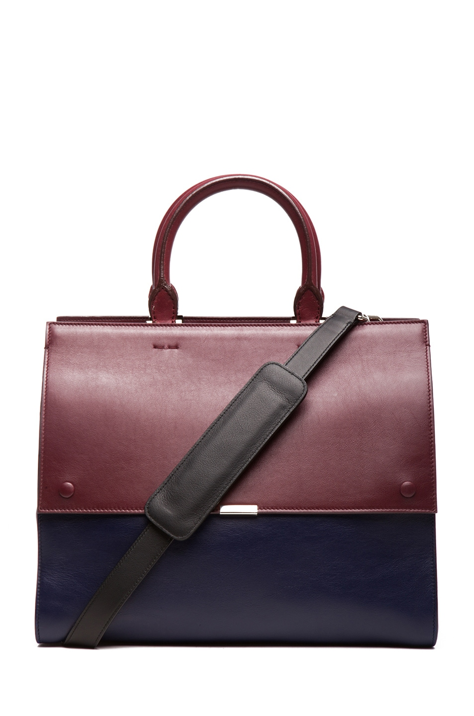 Image 1 of Victoria Beckham Soft Tote in Blue and Oxblood